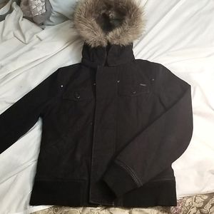 COPY - TNA Aritzia fur lined black coat